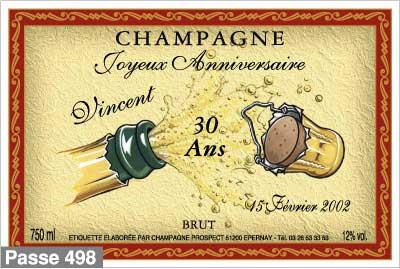 Beliebt Étiquette champagne - Bouteille champagne personnalisée  GI31